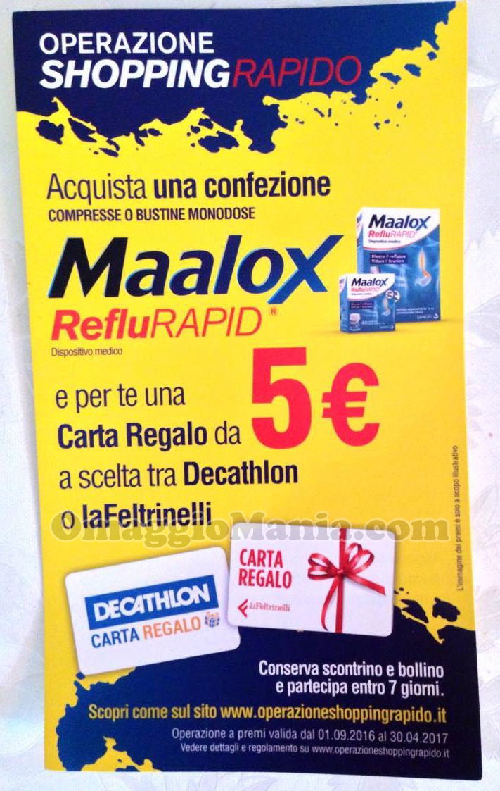 locandina Operazione Shopping Rapido Maalox RefluRapid