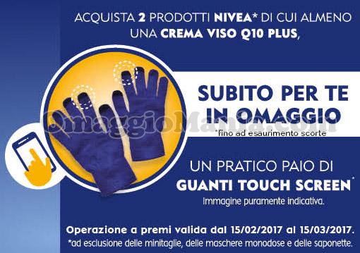 guanti touch screen Nivea omaggio