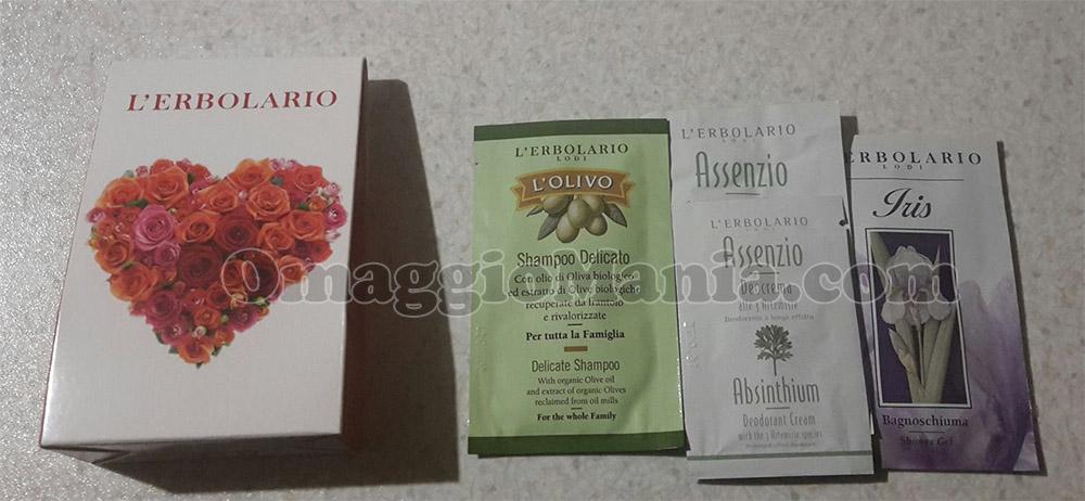 kit campioni omaggio L'Erbolario ricevuto da Silvia