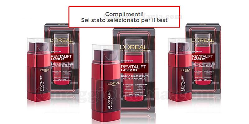selezione tester doppio trattamento L'Oréal Revitalift Laser X3