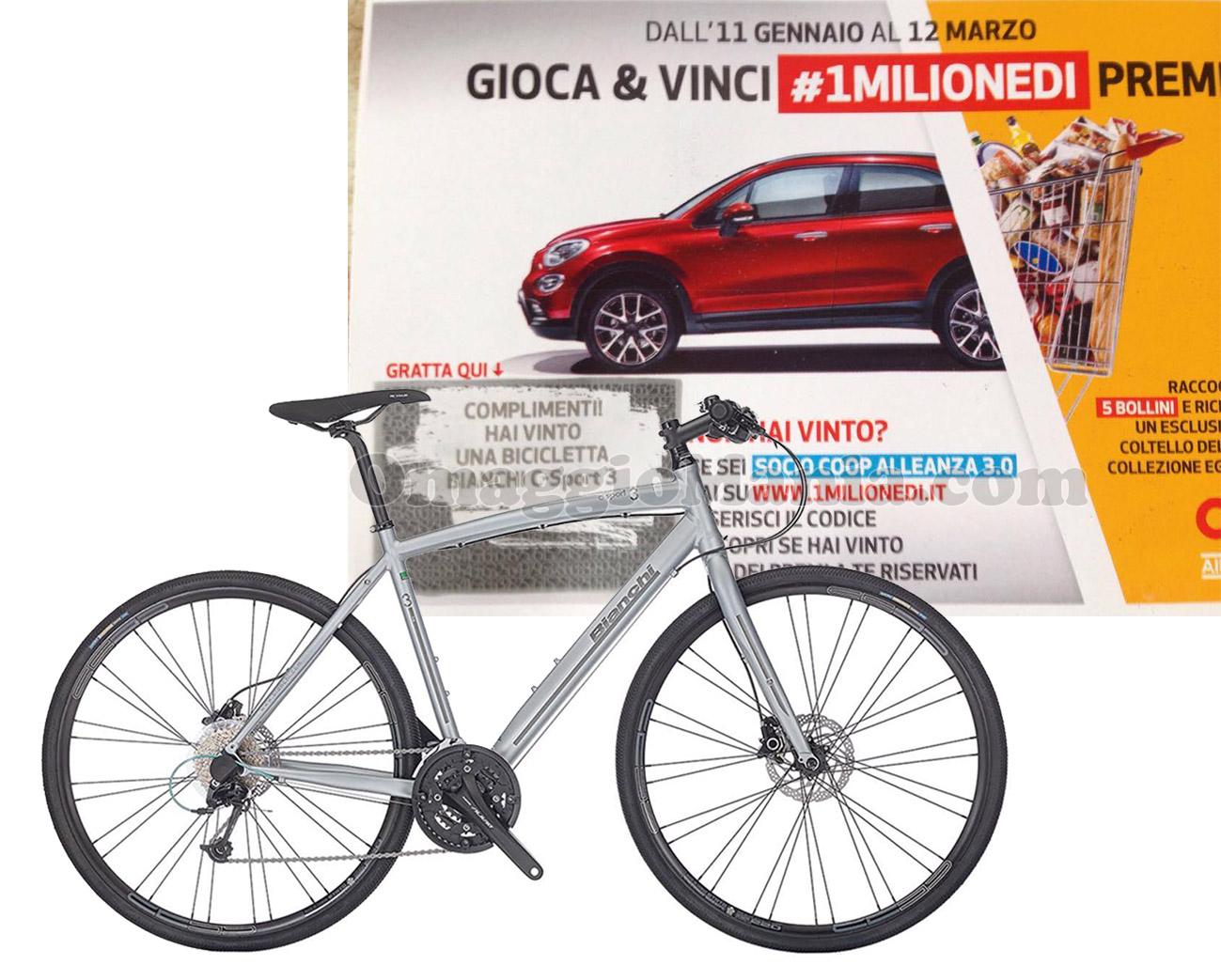 vincita bicicletta Bianchi C-Sport 3 di Tatiana con COOP #1MilioneDi
