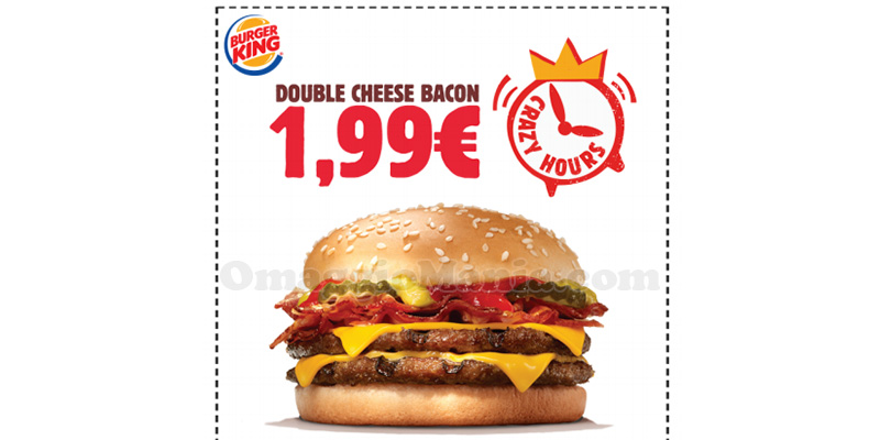 coupon Burger King Crazy Hours Double Cheese Bacon