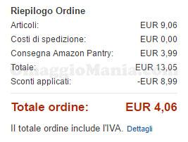 esempio risparmio 8,99€ Amazon Pantry