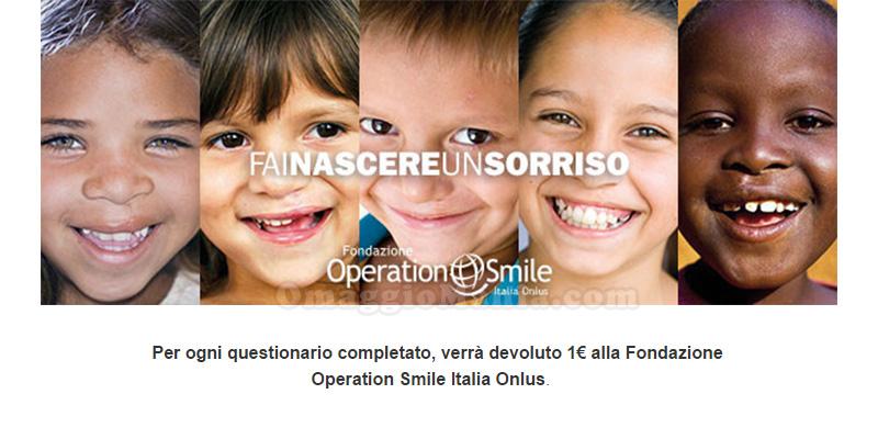 rispondi questionario dona 1€ a fondazione Operation Smile