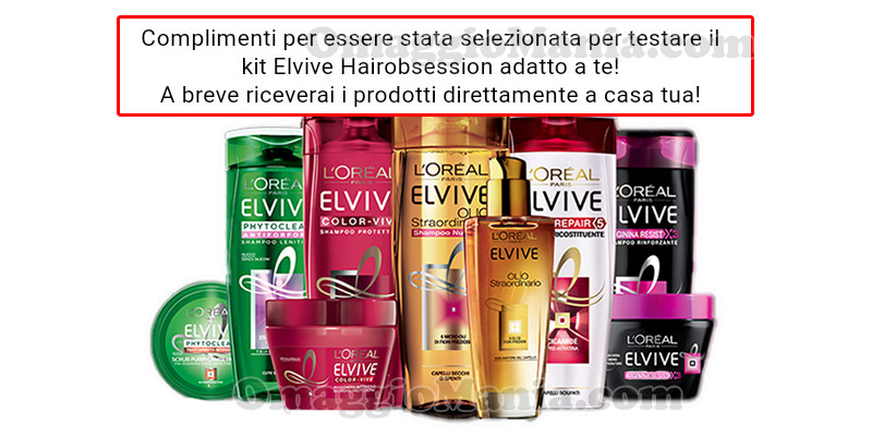 selezione tester L'Oréal Elvive HairObsession