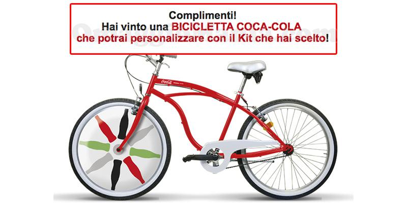 vincita bicicletta Coca Cola di Tatiana