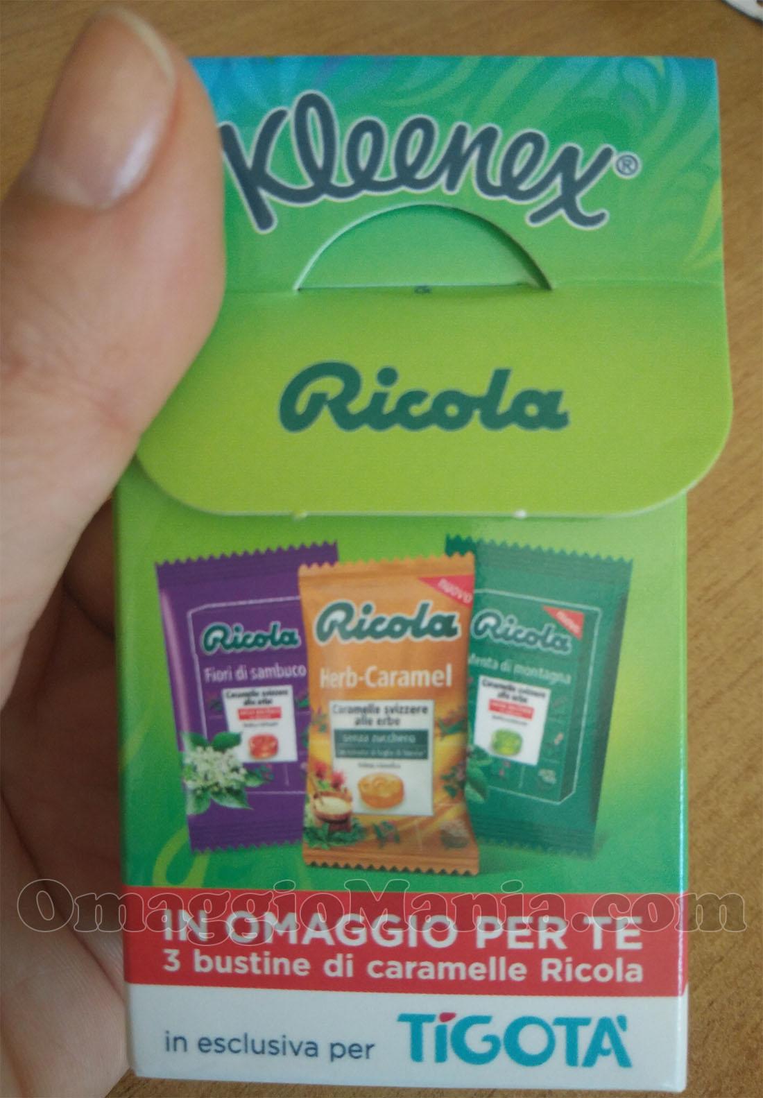 Caramelle Ricola omaggio con Kleenex da Tigotà