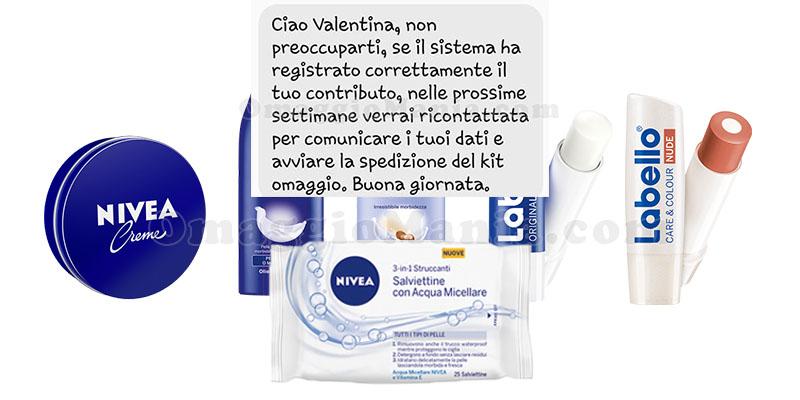 aggiornamento kit omaggio Nivea Labello di Valentina