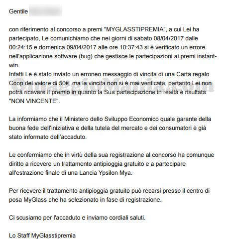 comunicazione ufficiale concorso MyGlassTiPremia