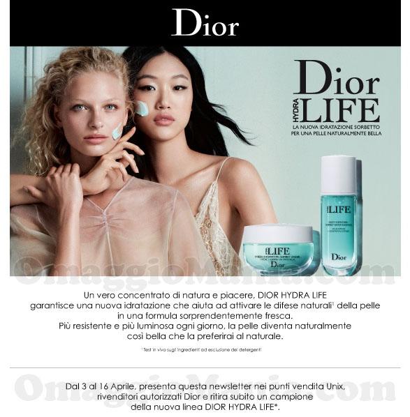 email Ethos Profumerie campione omaggio Dior Hydra Life