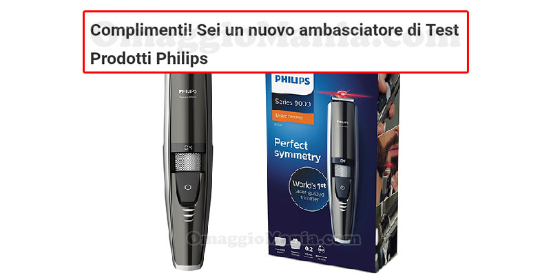 selezione tester regolabarba Philips serie 9000 di Giorgia