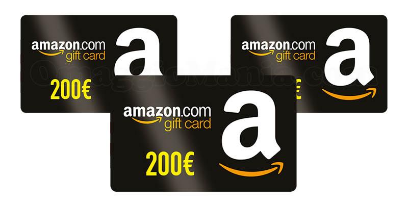Vinci gratis 33 buoni amazon da 200 euro omaggiomania for Buoni omaggio amazon
