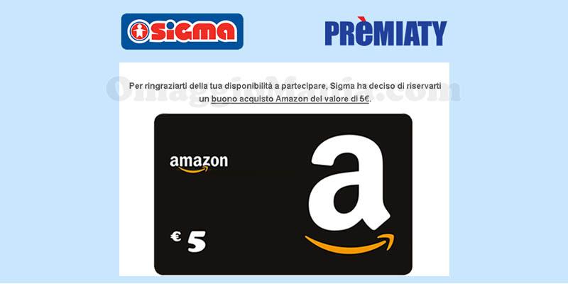 buono Amazon 5 euro con sondaggio Sigma Premiaty