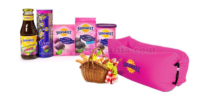 fornitura di prodotti Sunsweet e poltrona gonfiabile