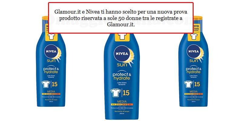 invito alla prova Glamour e Nivea latte solare idratante