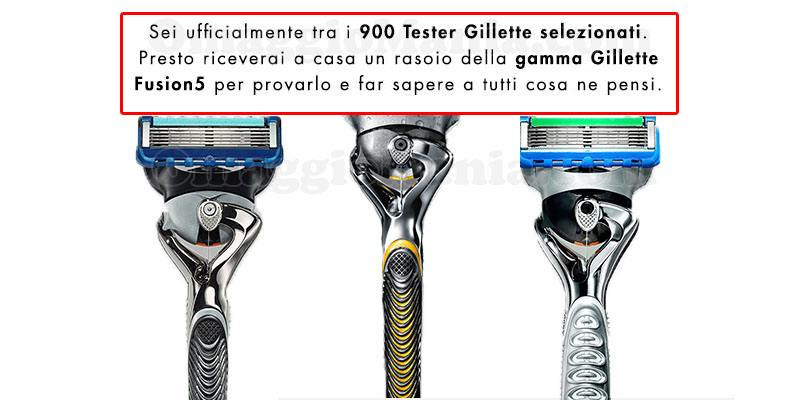 selezione tester rasoi Gillette Fusion5