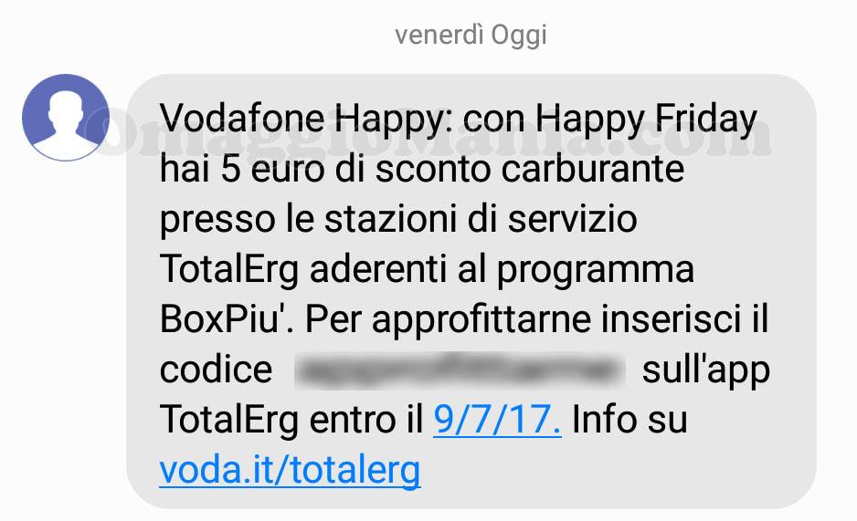 SMS Vodafone Happy sconto carburante TotalErg