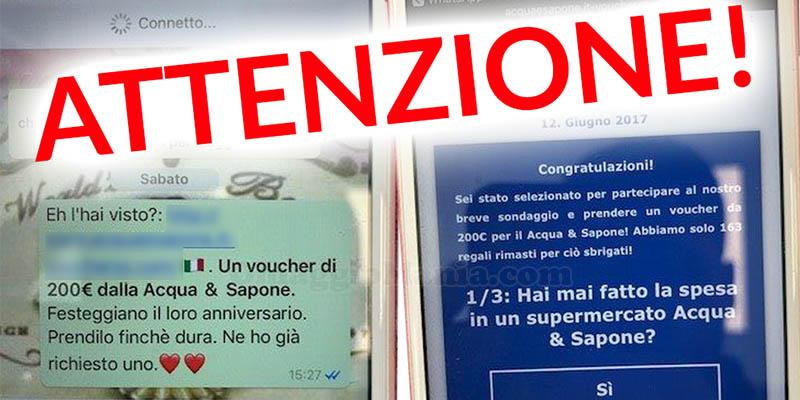 falso voucher sconto Acqua & Sapone