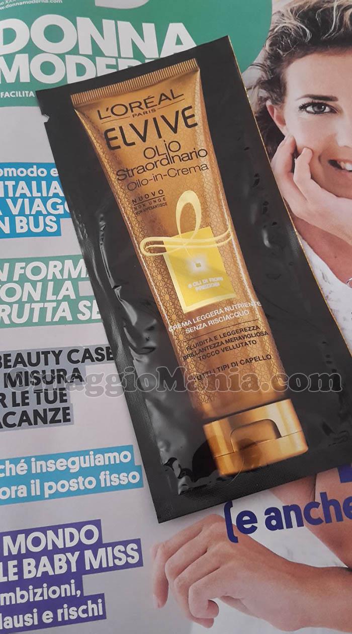 campione omaggio Olio Straordinario L'Oréal Elvive con Donna Moderna