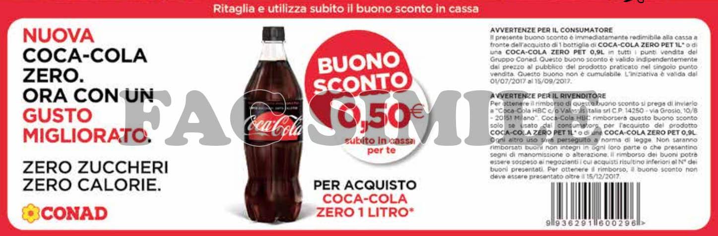 buono sconto Coca Cola Zero Conad