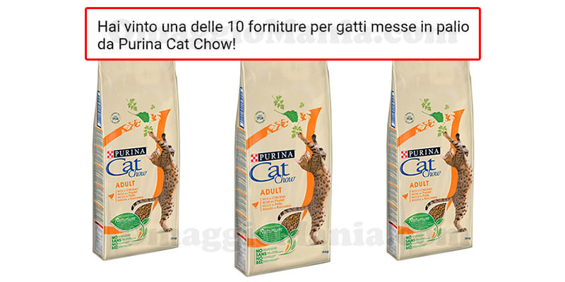 vincita fornitura Purina Cat Chow