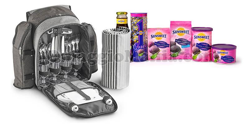 zaino per picnic e fornitura di prodotti Sunsweet