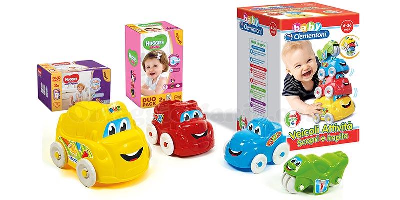 Huggies e Carrefour ti regalano i veicoli attività scopri e impila