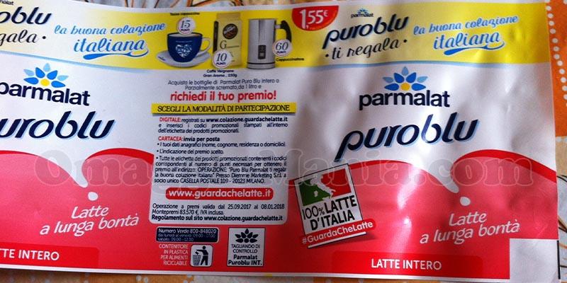 etichetta Parmalat Puro Blu ti regala la buona colazione italiana