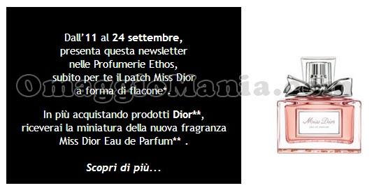 patch Miss Dior gratis Ethos Profumerie