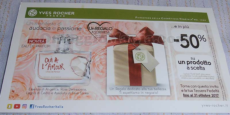 cartolina Yves Rocher regalo a sorpresa ottobre 2017