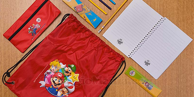 kit scuola Super Mario McDonald's 2017
