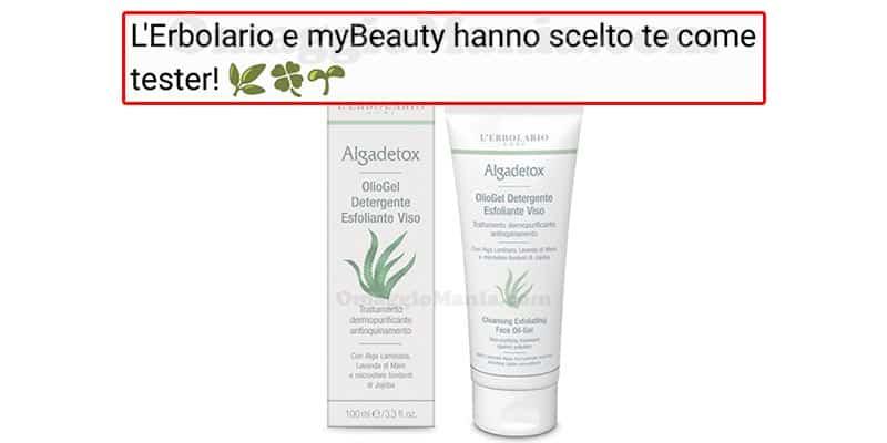 selezione tester OlioGel Detergente Esfoliante Viso Algadetox L'Erbolario