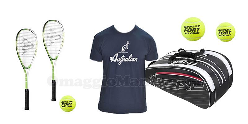 t-shirt Australian borsa portaracchette Head mini racchette e palline Dunlop