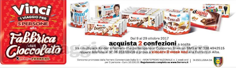 vinci viaggio alla Fabbrica del Cioccolato Kinder e Ferrero con Lidl