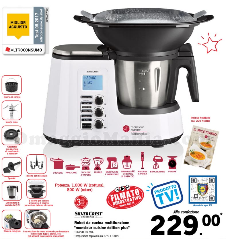 Monsieur cuisine plus simil bimby a 229 euro omaggiomania for Robot menager monsieur cuisine plus