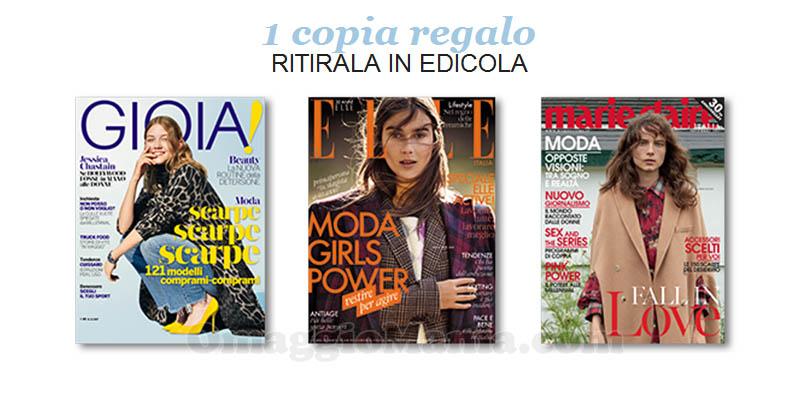coupon omaggio Gioia 43 Elle 11 Marie Claire 11