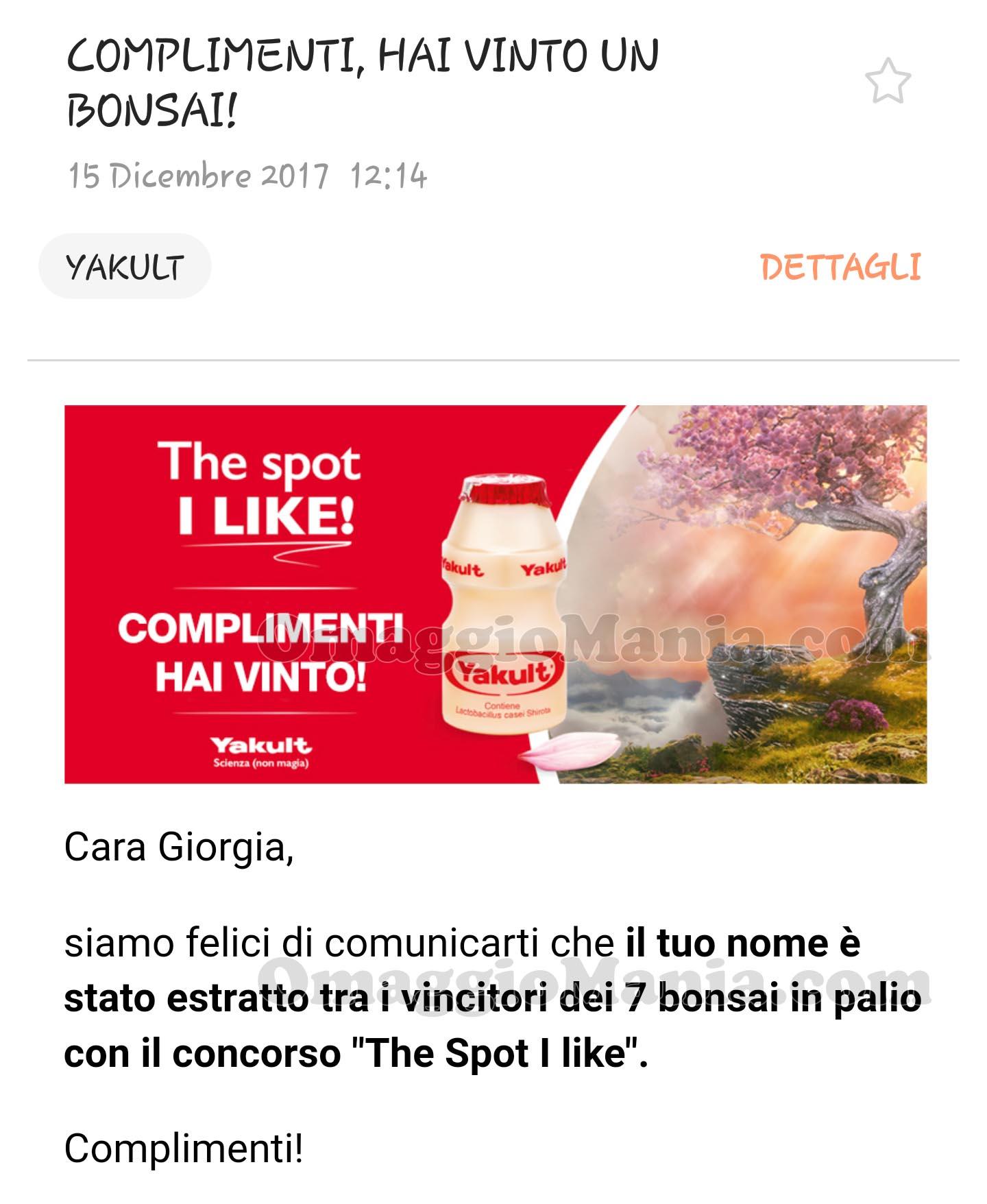 comunicazione vincita Bonsai Yakult The Spot I like di Giorgia