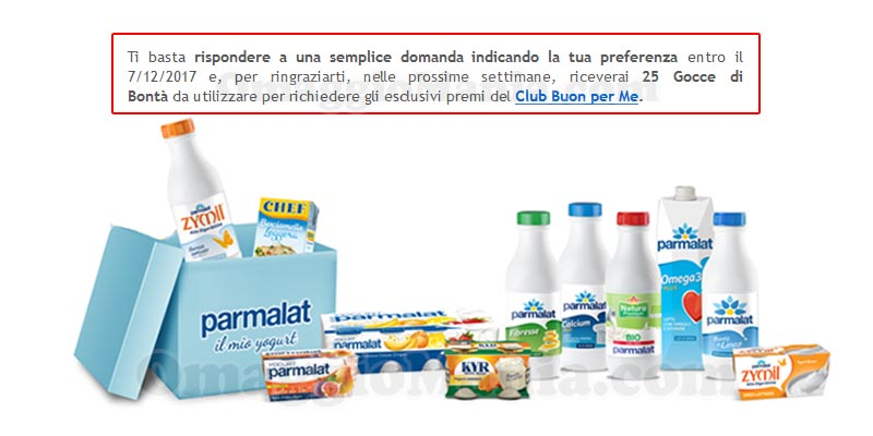 sondaggio Parmalat Buon per Me dicembre 2017