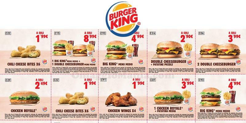 buoni sconto Burger King fino 22 gennaio 2018