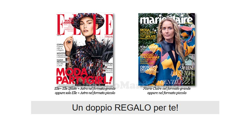 coupon omaggio Elle 1 e Marie Claire 1 2018