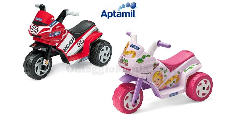 mini moto Peg-Pérego con Aptamil