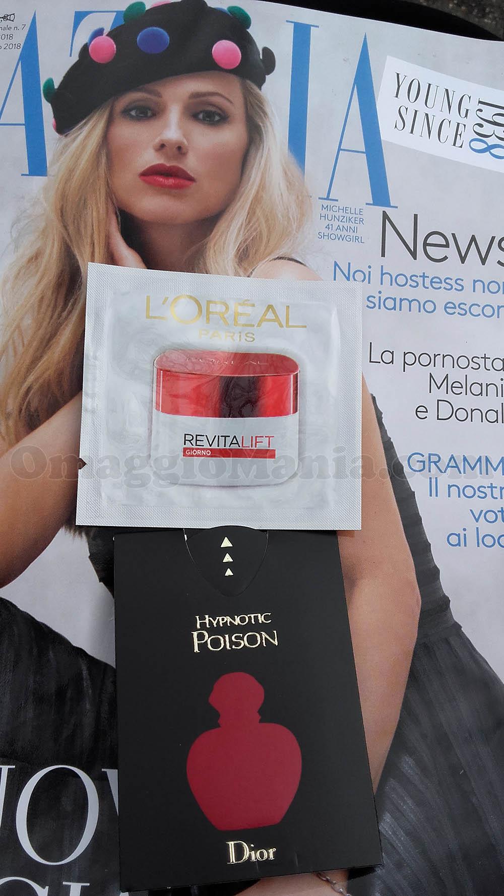 Grazia n.7 con campioni omaggio L'Oréal Revitalift e Dior Hypnotic Poison