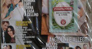 bustina di tisana Pompadour con rivista Diva e Donna febbraio 2018