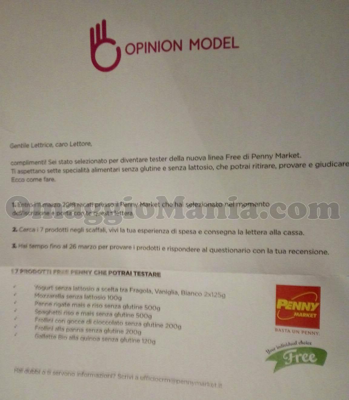 lettera prodotti Free Penny Market di Simona