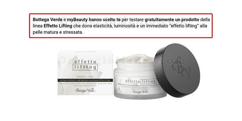 selezione tester crema viso effetto lifting Bottega Verde