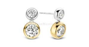 orecchini in argento con dettagli placcati in oro giallo