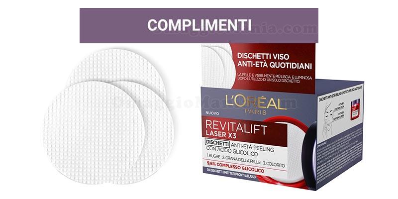 selezione tester dischetti anti-età L'Oréal Revitalift Laser X3
