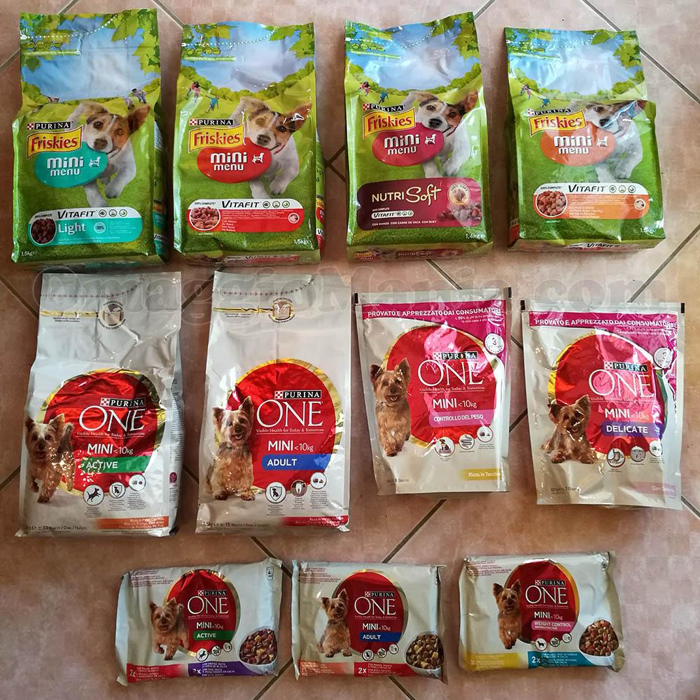 fornitura di prodotti Purins Friskies e Purina One Mini