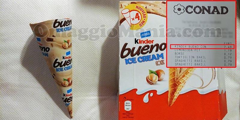 gelato Kinder Bueno Ice Cream in Italia scontrino Conad