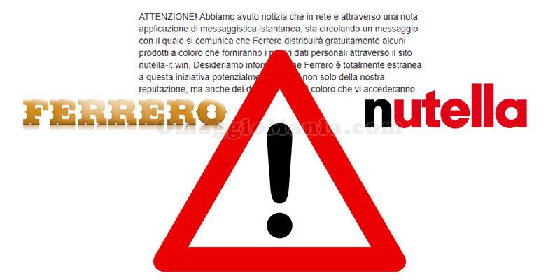Ferrero Nutella prodotti gratuiti inizativa falsa
